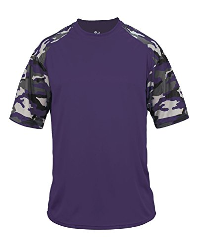 Blank Front/Back Purple Camo Adult Large Sleeve Wicking Jersey Uniform Shirt