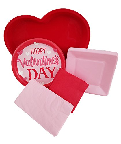 Happy Valentines Day Red and Pink Party Dinnerware Set - Bundle Pack Includes Heart-Shaped Plastic Serving Tray, Round Paper Plates, Square Plates & Napkins for 18 Guests