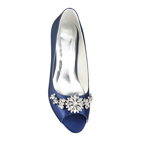 Novia Azul Tacones Sandalias de Zapatos Best Mujeres 6 Bajos de Rhinestone 5 de Primavera de Peep Verano Banquete Zapatos Toe CM de 4U® Stiletto Goma Suela Satén Las Noche Boda EU36 KUKIE xTSnAqgx