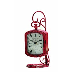 Creative Co-op Pewter Table Clock with Metal Pocket Watch Stand, Fuschia