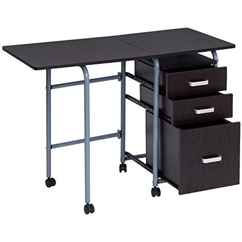Brown Rolling Folding Computer Desk 3 Drawers Ample Storage Space Laptop Notebook Workstation Study Writing Table Home Office Modern Space Saving Furniture Foldable Design Easy Movement With 4 Wheels