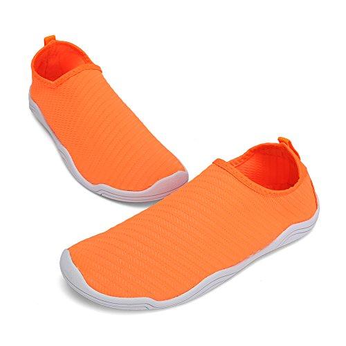 FCKEE Water Shoes Aqua Schuhe Slip-On Barfuß Leicht Leicht Quick-Dry Drainage Haltbare Sohle Mutifunktional für Beach Pool Surfen Frauen Männer T-Orange
