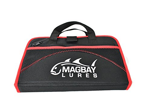 MagBay Lures Custom Red 25 Pocket Protective Jig Bag, Trolling Jig Storage (Red)