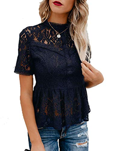 Tobrief Women's Peplum Tops Short Sleeve See Through Semi Sheer Floral Lace Top Dark Blue XL ()