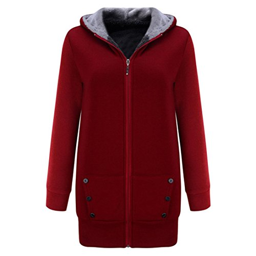 Overcoat Gray M Warm Velvet Sweatshirt Deep Casual Coats Womens Winter Thicker Hooded Coat Wine Jacket 1qwUvTnP