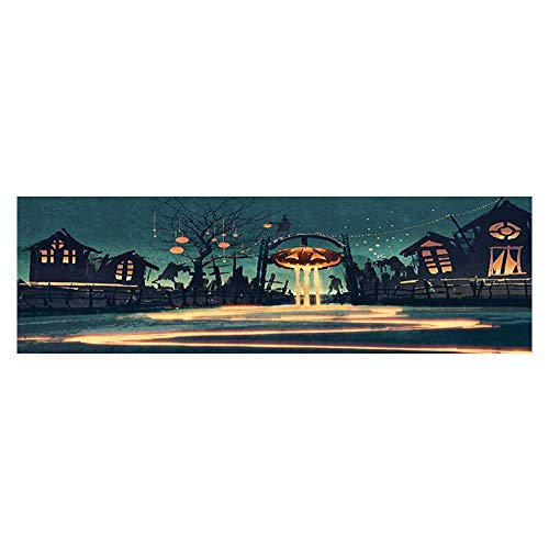 Auraise Heybee Background Fish Tank Decorations Halloween Theme Night Pumpkin and Haunted House Ghost Town Artful PVC Decoration Paper Cling Decals Sticker -