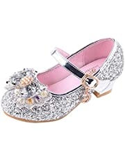 YIBLBOX Kids Girls Mary Jane Wedding Party Shoes Glitter Bridesmaids Low Heels Princess Dress Shoes
