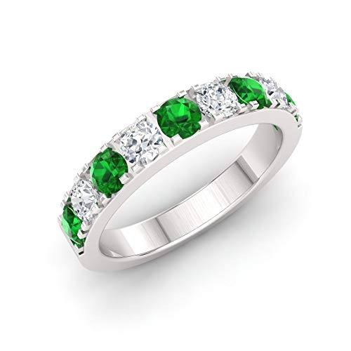 Diamondere Natural and Certified Emerald and Diamond Wedding Ring in 10K White Gold | 0.92 Carat Half Eternity Stackable Band for Women, US Size 7