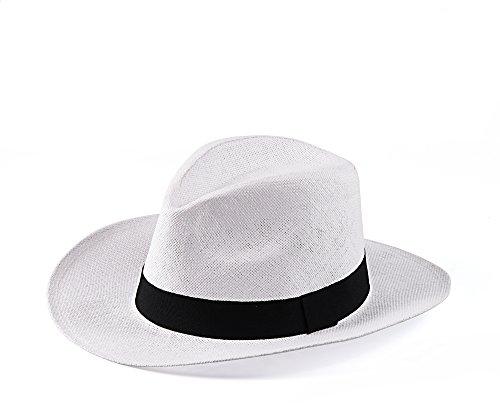Miuno® Unisex Panamahut Herren Damen Partyhut Stroh Hut H51018 (Weiß)