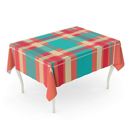 Emvency Rectangle Tablecloth 60 x 84 Inch Orange Abstract Plaid Printing Pattern Checkered in Bright Colors of Teal Cream and Red Over Coral Yellow Check Table -