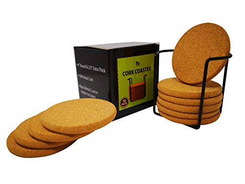 Extra Thick Cork Coasters with Metal Holder | Absorbent Bulk Blank Drink Coaster | 4