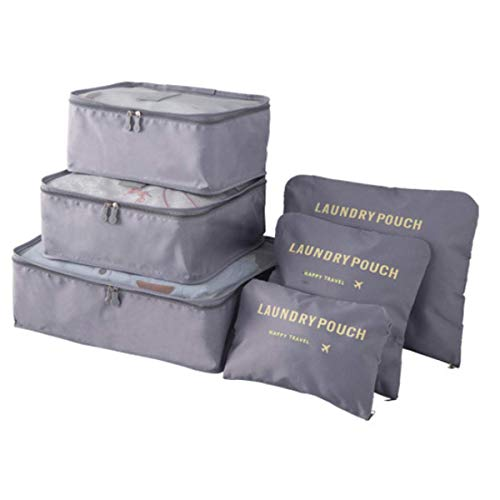 Pack of 6 Packing Cubes-Compression Travel Luggage Organizer-Travel Clothe Storage Bag-Travel Mesh Pouch -Laundry Bag-Travel Packing Organizer-Clothing Sorting Package- Travel Shoe Bag