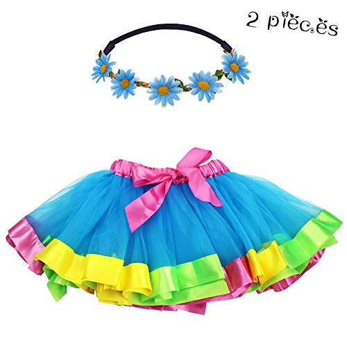 Flying Childhood Tulle Rainbow Tutu Skirt for Toddler Girls-Dance Dress Layered Ruffle Tiered with Daisy Flower Crown (Blue)