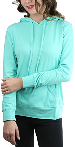 ToBeInStyle Womens Thin L.S. Drawstring Hooded Sweatshirt - Mint - Small