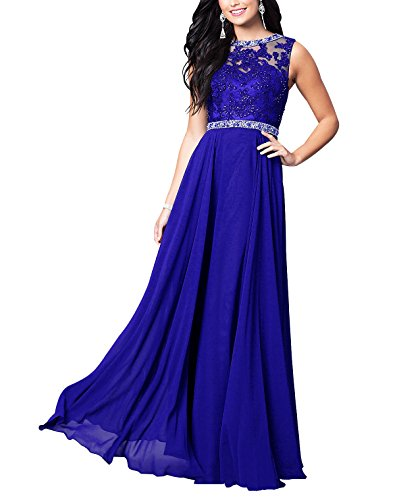 Beauty Bridal High-Neck Sleeveless Chiffon Appliques Evening Gowns Formal Long Prom Dress L048 (16,Royal Blue)