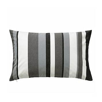 IKEA Valb  Housse de coussin, gris / blanc gris blanc, noir