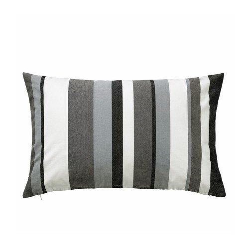 IKEA Valborg - Funda de cojín, gris-blanco / blanco, negro ...