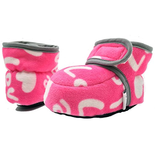 Baby Conda Cozy Stretchy Fleece Pink Heart Valentines Baby Booties, Infant Slippers 12 - 18 Months
