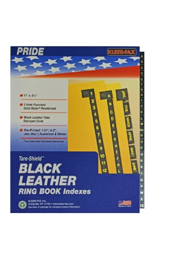 Kleer-Fax Preprinted Indexes with Imitation Black Leather Tabs, A to Z, 11 x 8-1/2 Inches, Canary Stock, One Set, 12116 (12116)