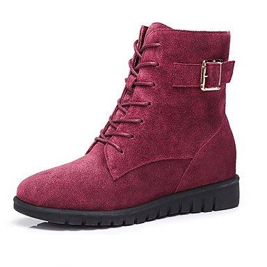 RTRY Zapatos De Mujer De Cuero De Nubuck Moda Otoño Invierno Botas Botas Para Ocasionales De Vino Amarillo US6.5-7 / EU37 / UK4.5-5 / CN37