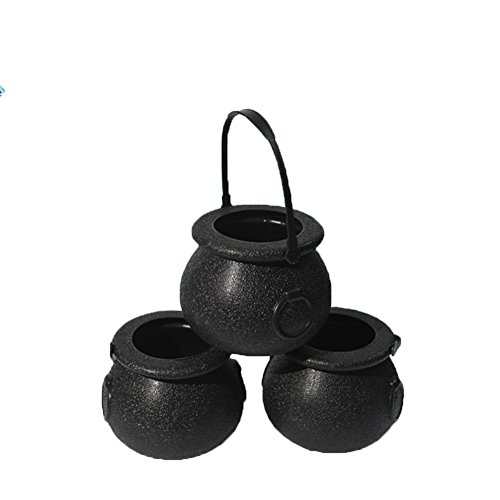 Fashionwu Halloween Party Decoration Portable Mini Black Witch's Cauldron and Skull Halloween Plastic Candy Holders -