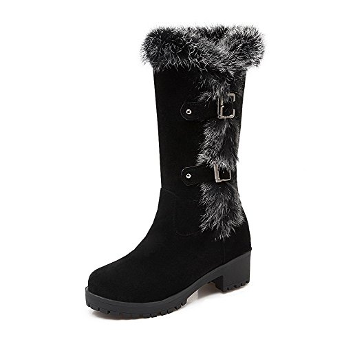 Allhqfashion Women's Frosted Pull On Round Closed Toe Kitten Heels Solid Boots Black
