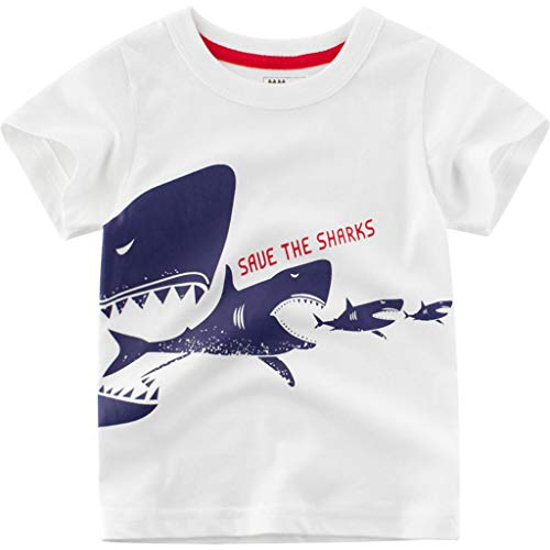 Shusuen_baby Boys' Short Sleeve T-Shirt Cartoon Print Tops White