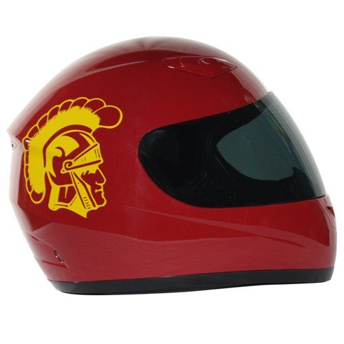 Motorcycle Helmet - University of Southern California Trojans - Full Face / Faced DOT approved Limited Edition Merchandise - Officially Licensed Collegiate Custom Logo Helmets - College Biker Riding Gear - One of a kind product - Ride with USC Trojan Pride by FanRider - Large - Red