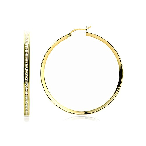 - 14K Yellow Gold 3mm Intriguing Princess CZ Stone Channel Set Eternity Round Hoop Earrings Womens