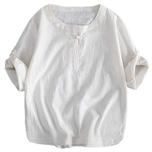 KINGOL Mens Brief Breathable T-Shirt Solid Color Seven Quarte Sleeve Loose Shirt Blouse White