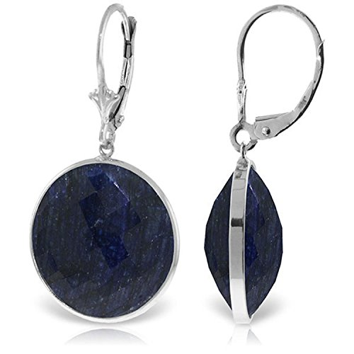 14K Solid White Gold Leverback Earrings with Checkerboard Cut Round Sapphires