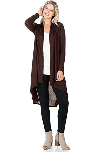 Modern Kiwi Solid Essential Long Cascading Cardigan Brown Small -