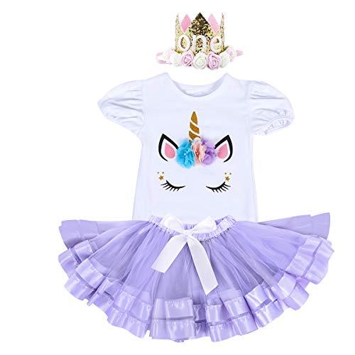Baby Toddler Girl Unicorn 1st Birthday Outfit Flower Onesie Tutu Skirt Headband Princess Halloween Fancy Dress Costume Purple & one Tiara 12-18 -