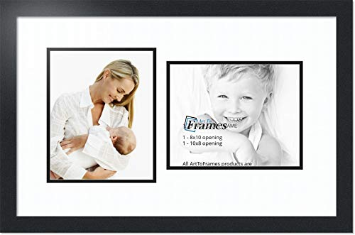 ArtToFrames Double-Multimat-107-61/89-FRBW26079 Collage Photo Frame Double Mat with 2-8x10 Openings and Satin Black Frame, Super White, 2-8x10