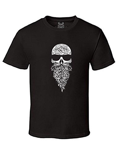 Gs-eagle Men's Hipster Skull Graphic T-Shirt Xlarge Black (Beard Halloween)