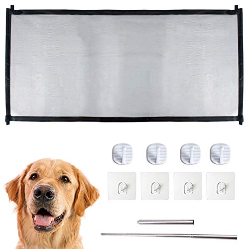 (Magic Gate for Dogs, Large Safe Guard for Baby and Pets, Portable Folding Mesh Gate with 8 Hooks )