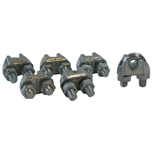 CPML014-6 Galvanized Steel Wire Rope 1/4' Cable Clamp Clip 6 Pack