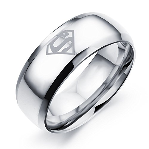 Godyce Superman Ring for Men Women Size 6-14 - 8mm Wide Stainless Steel Jewelry With Gift Box