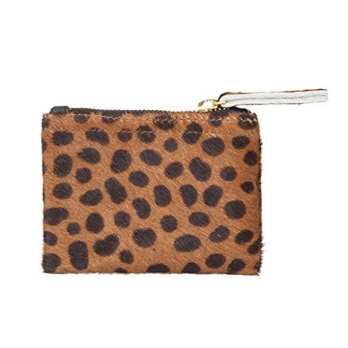 Genuine Leopard Animal Print Calf Hair Coin Wallet Small Purse (Women Wallet Animal Print)