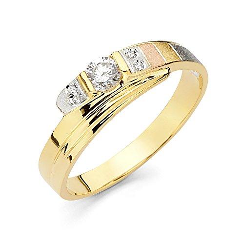 Ioka Jewelry - 14K Tri Color Solid Gold Cubic Zirconia CZ Men's Fancy Wedding Band - size 9 by Ioka Jewelry