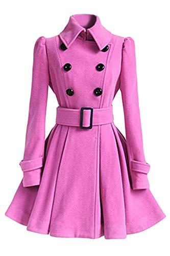 Chaqueta Abrigos Espesor Invierno Estilo Slim Pink Termica Doble Especial Botonadura Fit Classic Manga Larga De Outerwear Largos Vintage Mujer Unicolor Solapa AfwdCnqAa