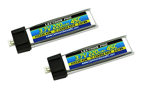 2-Pack of Lectron Pro 3.7 volt - 220mAh 45C Lipo Batteries for Tiny Whoop, Blade Inductrix FPV, mCX, mCX2, mSR, mSR X, Nano QX, & UMX AS3Xtra