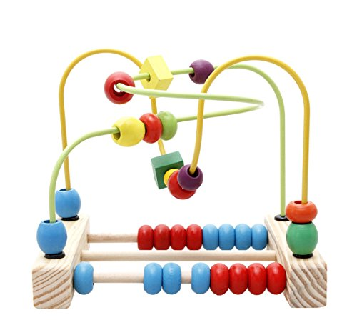Lewo Wooden Circle Beads Maze Roller Coaster Toddler Educational Toy