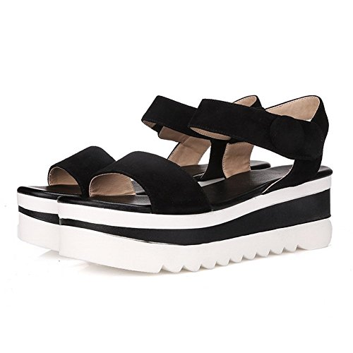 Style Black Frosted BalaMasa Preppy and Girls Hook Loop Sandals wvxBXSUq1