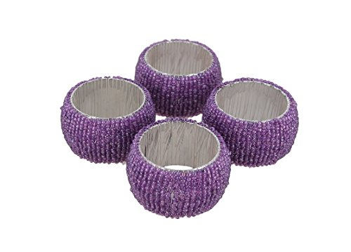 toyinngg Set of 4 -Purple Handmade Beaded Napkin Rings Set for Dinner Parties Table Decor -Diameter-1.5 Inch