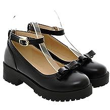 Women's Girl's Lolita Flat Low Top Japanese Students Maid Uniform Dress Shoes