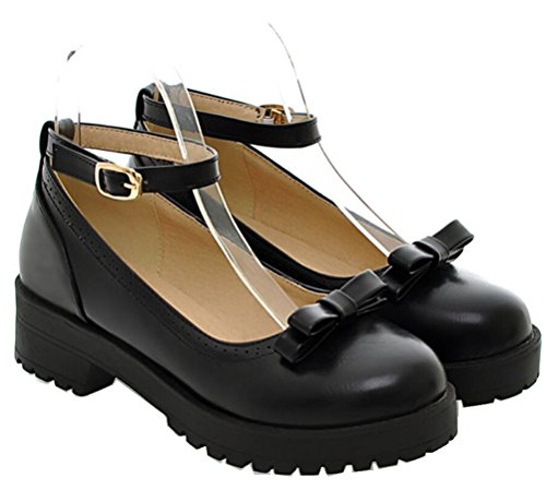 Women's Girl's Lolita Flat Low Top Japanese Students Maid Uniform Dress Shoes Oxford Shoes (7.5, All Black) ()