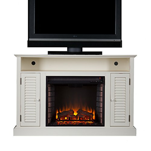 SEI Antebellum Media Console with Electric Fireplace, Antique White (Fireplaces Electric Energy Efficient)