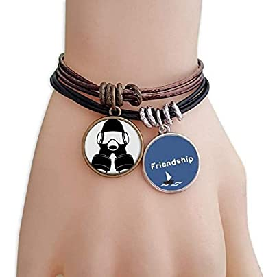 YMNW Pollution The Special Arms Gas Mask Friendship Bracelet Leather Rope Wristband Couple Set Estimated Price -