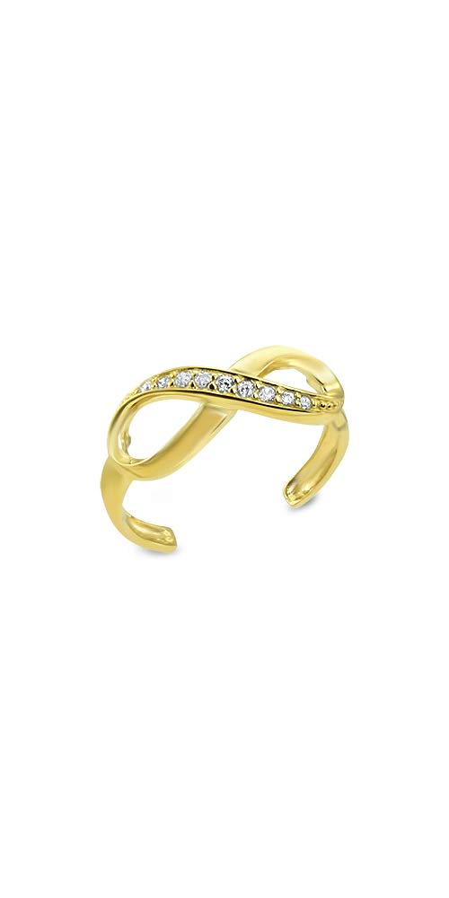 14k Yellow Gold Toe Ring Infinity CZ. Size Adjustable by Nose Ring Bling